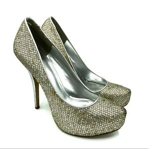 Shoes - Aldo silver and gold sparkle heels 39